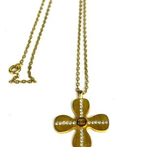Chanel 01c Crystal Clover Gold Chain Necklace
